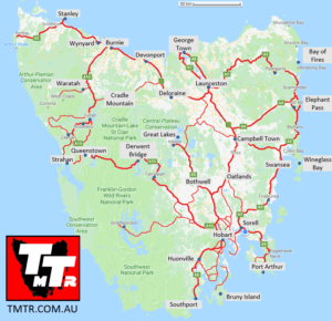 Road Map of Tasmania - TMTR