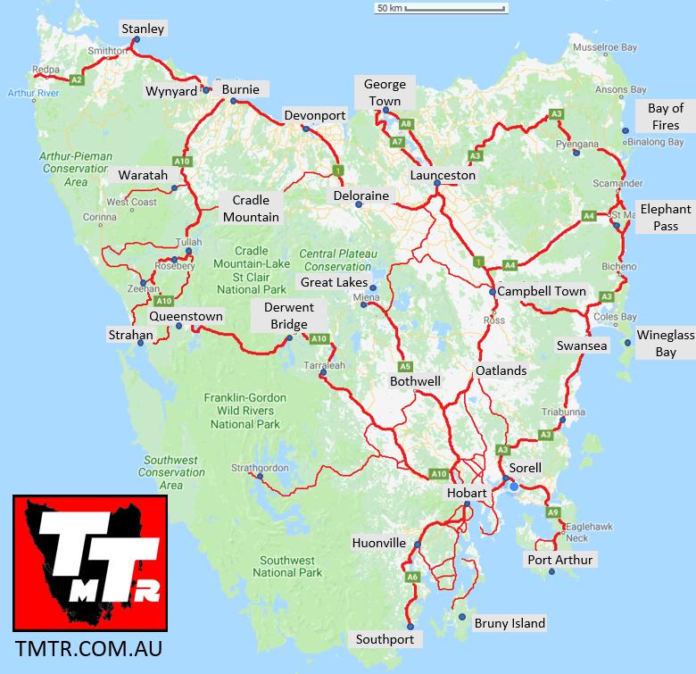 Road Map of Tasmania - TMTR